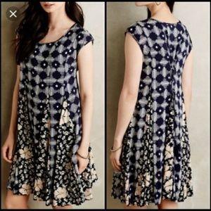 Maeve Indigo Floral Print Tie Back Swing Dress